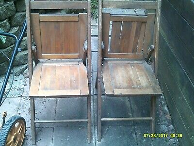 Vintage Antique Lot Of 2 Solid Oak Church Folding Chairs Nice