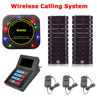 Restaurant Guest Paging Pager Queue System Transmitter+20 Wireless Coaster Pager