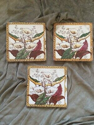 Beautiful Victorian Antique Transfer Printed Tiles x3