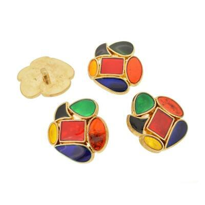 set of 4 vtg retro gold tone unusual shaped red blue green yellow huge buttons