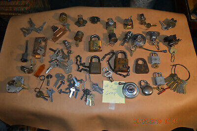 2)  Large Group Old Locks & Keys Hurd, Sargent, Us Ordnance Lock , Hardware