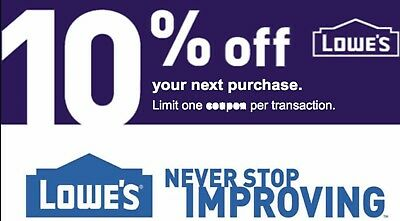 Lowes 10% OFF INSTANT DELIVERY-1COUPON PROMO IN-STORE / ONLINE