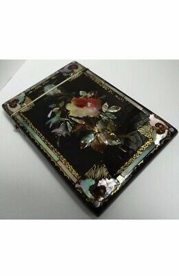 Fine Rare English Antique 1860 Black Lacquer & Mother Of Pearl Calling Card Case