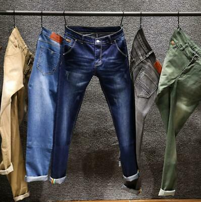 New Mens Boys Slim Fit Stretch Denim Pants Casual Faded Jeans Straight Trousers