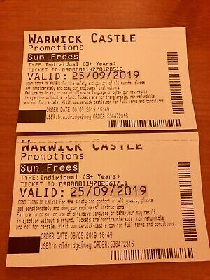 2 Adult Entry Tickets For Warwick Castle Valid On 25/09/19