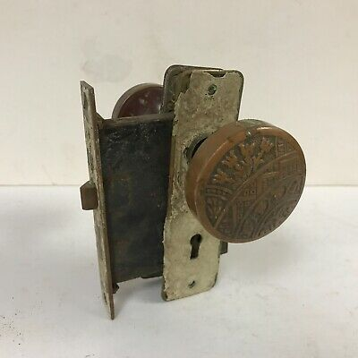 Antique brass victorian style late 1800s door knob back plate hardware