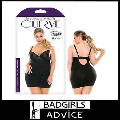 Bad Girls Advice Curve Dominique Wetlook Chemise & G-String -Black -1X/2X 18-22
