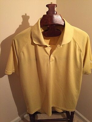 ADIDAS CLIMALITE Yellow Microfiber Short Sleeve 3 Stripe Polo Golf Shirt Mens XL