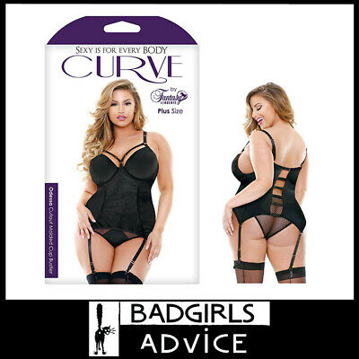 Bad Girls Advice Curve Odessa Cutout Molded Cup Bustier  Black - 1X/2X 18-22 Au