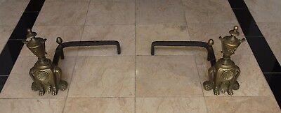 Pair of French Antique Bronze and Cast Iron Fireplace Andirons
