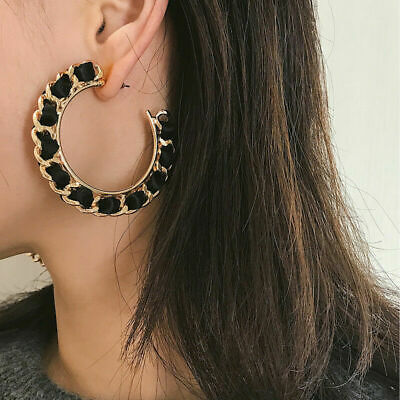 Jewelry Women Alloy Hemp Statement Circle Earrings Gift Design Fashion Hoop Rope