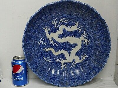 Very Rare Large Chinese Dragon Bowl With Character Marks On The Rim - L@@K Rare