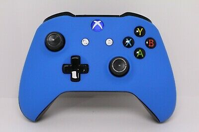 Microsoft Xbox One S Bluetooth Wireless Controller w/Soft Touch Blue Face Plate