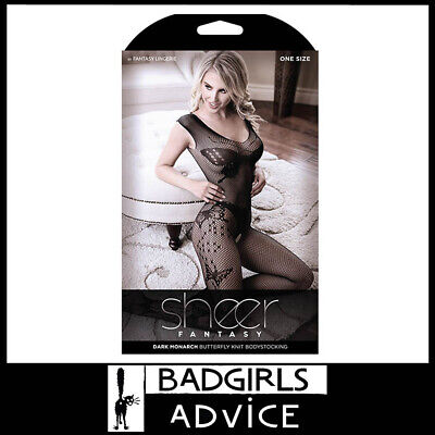 Bad Girls Advice Sheer Dark Monarch Butterfly Knit Bodystocking - Black - Os