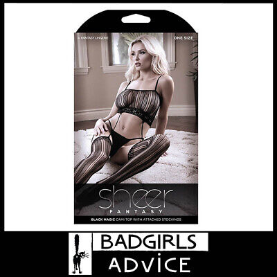Bad Girls Advice Sheer Fantasy Black Magic Cami Top With Attached Stockings -Os