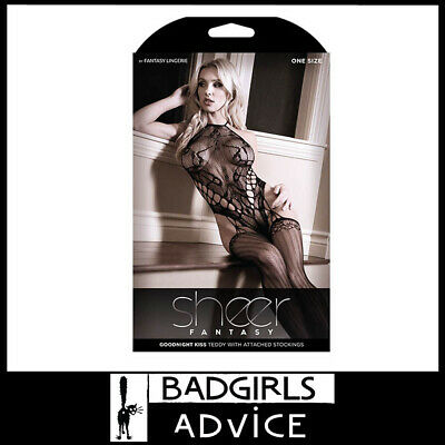 Bad Girls Advice Sheer Goodnight Kiss Teddy Inc Attached Stockings - Black Os