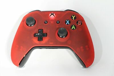 Microsoft Xbox One S Bluetooth Wireless Controller w/ST Transparent Red Face