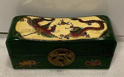 Antique Chinese Leather?Layered, Dragon/Phoenix Hand Painted Green Jewelry Box.