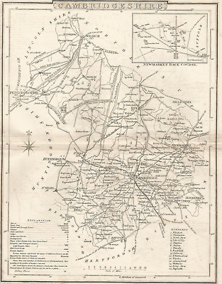 An antique map of Cambridgeshire with New Market race course