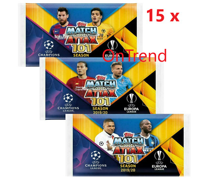 10 x Packs of 2019 2020 Match Attax UEFA Champions League Soccer Trading Cards