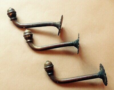 Three Good Early Antique Brass Coat Hooks.     Possibly Georgian.