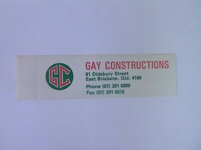 VINTAGE Sticker GAY CONSTRUCTIONS Collectable AUSTRALIAN Print Advertising