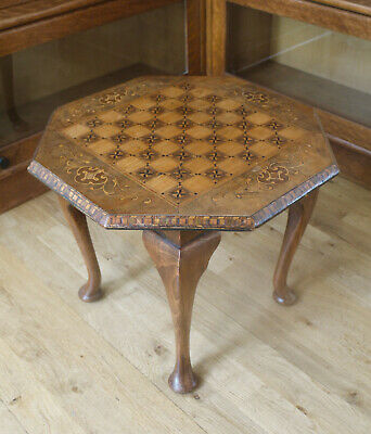Antique octagonal low inlaid veneer chess table or side game table. Marquetry