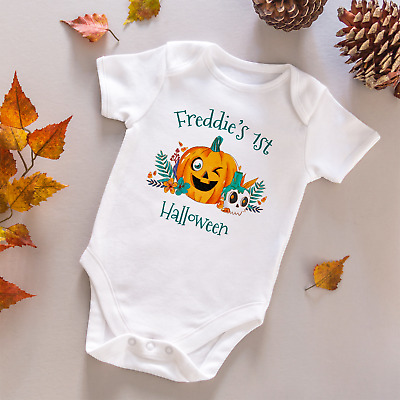Personalised My First Halloween Baby Grow Vest Bodysuit Pumpkin Romper Sleepsuit