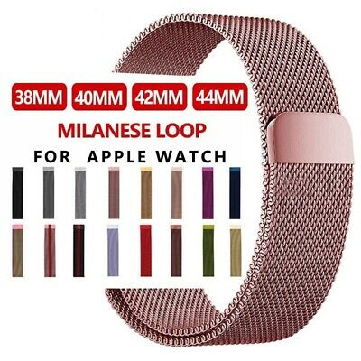 For Apple Watch Magnetic Buckle Milanese Stainless Steel Band Strap Link Band