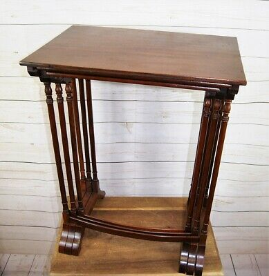 Antique Edwardian Nest of 3 Occasional, Side or Lamp Tables with Mahogany Veneer