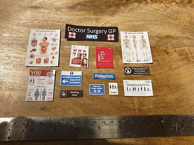 1:12th Dolls House GP Doctor Surgery Wall Signs Scale Medical Hospital Dollhouse