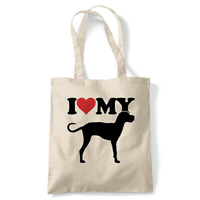 I Love My Great Dane Tote - Reusable Shopping Canvas Bag Gift