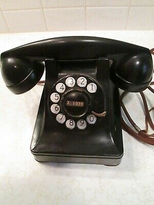 Vintage 1930's Bell System Western Electric Black Rotary Desk Phone ~ F1