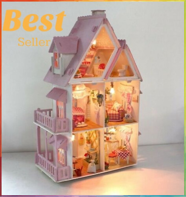 Large Wooden Kids Doll House Barbie Kit Girls Play Dollhouse Mansion Furniture