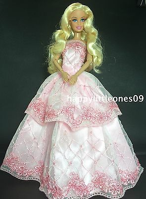 Pink Embroidered Barbie Doll Wedding Party Evening Dress/Clothes/Outfit BrandNew