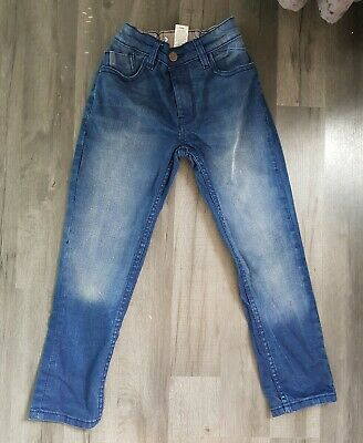 Boys Next denim Jeans age 8years straight leg regular blue adjustable waist vgc