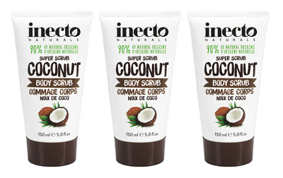 THREE Inecto Naturals COCONUT BODY SCRUB 150ml Leaves Skin Feeling Silky Smooth