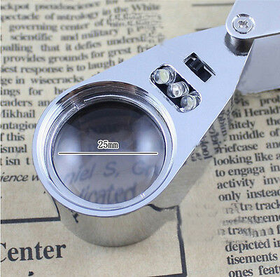 New LED Jewellers Pocket Lens 40X 25mm Loupe Magnifying Eye Glass Magnifier PM