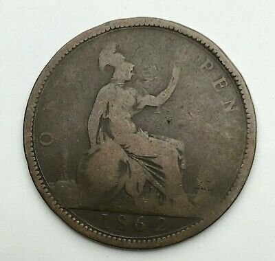 Dated : 1862 - One Penny - 1d Coin - Queen Victoria - Great Britain