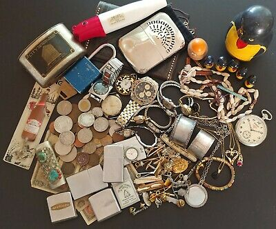 Premium Junk Drawer Lot Silver, Watches, Jewelry, Lighters, Coins, Trinkets