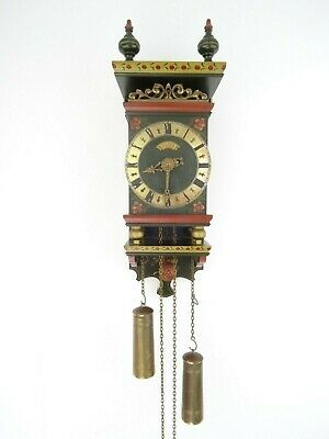 Antique Warmink WUBA Dutch Friesian Hindeloopen Vintage Wall Clock 8 day