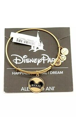 New Disney Parks Alex and Ani Mickey Ear Hat Icon Charm Bangle Bracelet Gold