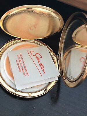 Vintage STRATTON England Paisley GOLD-tone POWDER Compact Orig Papers