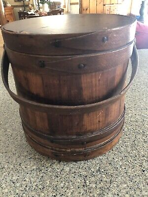 Antique SHAKER FIRKIN 1800s Primitive Wooden Pantry Box Sugar Pail Bucket