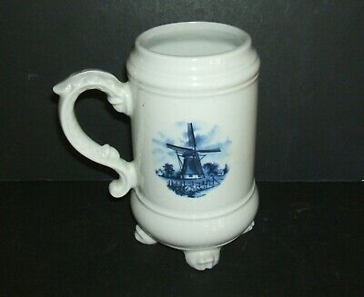Ter Steege Bv Delft Blue Footed Stein Tankard Holland Windmill  Rare!!