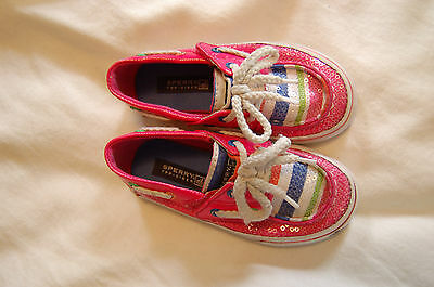 Sperry Bahama Jr Pink Stripe Canvas and Sequins Shoes Size 7. 5 M Girls