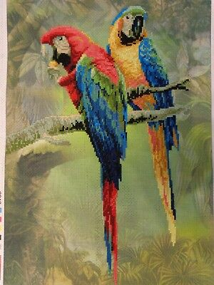 Handmade Finished Needlework Cross Stitch Picture Parrots Unframed NEW #6