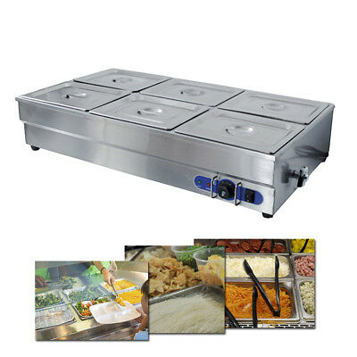 Heavy Duty 6 Pans Wet Well Bain Marie Food Warmer Holder 1/2 GN Containers 1500W
