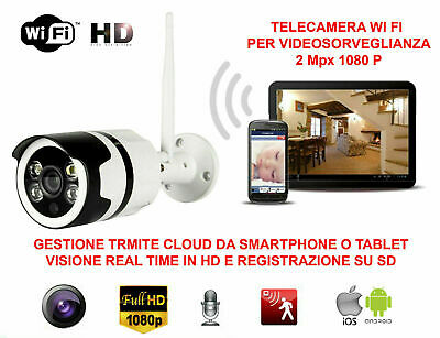 Telecamera Videosorveglianza Ip Hd 1080P Wireless 2 Mpx Esterno Cloud Wifi Led
