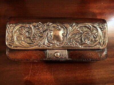Antique Sterling Silver Leather Purse Art Nouveau Edwardian Card Stamp Case 1903